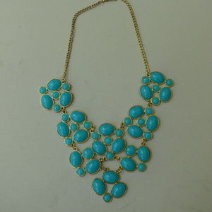 Large teal collar necklace V shape faux turquoise